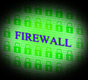 Firewall Security Means No Access And Encrypt. Security Firewall Representing Login Guard And Defence Stock Photos