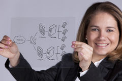 Firewall security solution. Businesswoman showing a firewall schema (selective focus with shallow DOF Stock Image