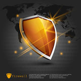 Firewall shield background. internet security. shield on the background of the map Royalty Free Stock Photography