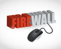 Firewall sign and mouse illustration design Stock Photo