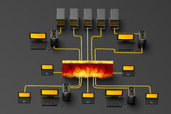 Firewall Traffic. 3D illustration of computer server network, protected behind a firewall Royalty Free Stock Images