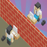 Firewall between two workers. Illustration of the concept of a brick wall between two workers, in isometric old video game style. The grunge texture is removable Stock Photo