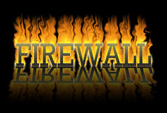 Firewall, a wall against the fire. The fire burns against the letters of the word firewall, but the letters are still intact. A good firewall protects Stock Image