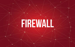 Firewall white text illustration with red constellation map as background Royalty Free Stock Images