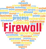 Firewall Word Cloud Text Illustration in shape of a Shield. Royalty Free Stock Images