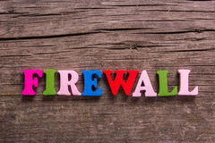 Firewall word made of wooden letters Stock Photography