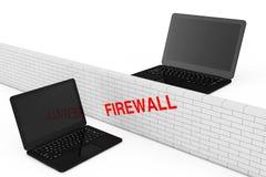 firewallen för begreppet 3d keys låsmodellen Firewalltegelstenvägg mellan två säkerhet Lapto Arkivfoton