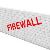 firewallen för begreppet 3d keys låsmodellen Vit tegelstenvägg med Firewalltecknet 3d framför Royaltyfria Foton