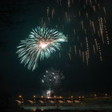 Firewoks in Kuldiga Stock Images