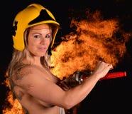 Firewoman atractivo Fotografía de archivo