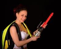 Firewoman atractivo Imagen de archivo libre de regalías