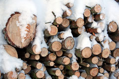 Firewood. Pile of firewood covered with snow Stock Images