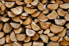 Firewood. Cut woods stacked in pile Stock Images