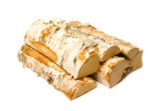 Firewood. A stack of firewood with white background Royalty Free Stock Images