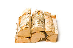 Firewood. A stack of firewood with white background Stock Photos