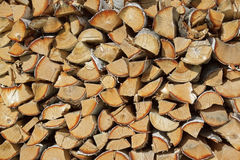 Firewood. Horizontal photo of many brown logs, nature, firewood Stock Photo