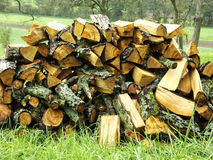 Firewood. A fresh big stack of firewood Stock Photos