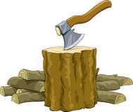 Firewood. Stump with an ax and firewood, vector royalty free illustration