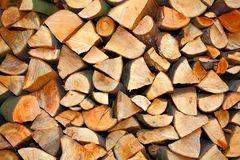 Firewood. A detailted view on some firewood - texture royalty free stock photo