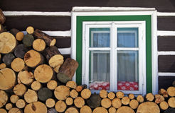 Firewood. Pieces of firewood in front on house royalty free stock photo