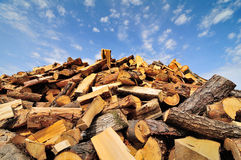 Firewood. Pile and blue sky Royalty Free Stock Photography