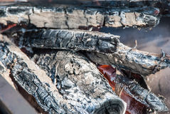 Firewood. Burning and Glowing charcoal and flame Stock Photography