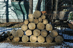Firewood. Stacked for the fall Royalty Free Stock Photo
