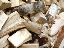 Firewood. A pile of dry birch fire wood Royalty Free Stock Images