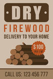 Firewood advertisement. Colorful vector poster, flyer or banner template for firewood delivery. Flat style Royalty Free Stock Images