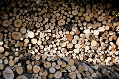 Pile of Chopped Firewood for Fireplace. Firewood is any wooden material that is gathered and used for fuel. Generally, firewood is not highly processed and is in royalty free stock images