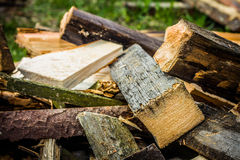 Firewood. Ax Firewood Heap Pile Grinding Cut Wood Timber Wood Wood Brown Village Stock Image