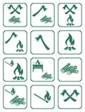 Firewood, ax and matches icons. Vector illustration Stock Photo