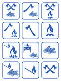 Firewood, ax and matches icons. Vector illustration Royalty Free Stock Images