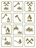 Firewood, ax and matches icons Royalty Free Stock Images