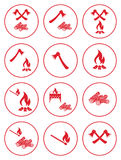Firewood, ax and matches icons Stock Photos