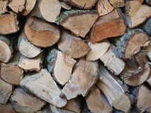 Firewood background. Detail of a pile of firewood Royalty Free Stock Images
