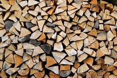 Firewood background. Chopped wood ready for winter.  Stock Image