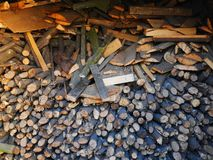 Dry firewood of various species lying in the room. On which is visible the structure of a tree, sprinkled with sawdust, shades of gray and beige colors. the stock photography