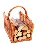 Firewood in a basket Royalty Free Stock Photos
