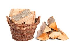 Firewood in basket Stock Image