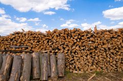 Firewood and block. Stock Photography