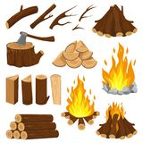 Firewood Boards. Fireplace Fire Wood, Burning Wooden Stack And Blazing Bonfire. Campfire Logging Pile Cartoon Vector Stock Photography