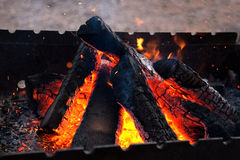 Firewood in brazier Royalty Free Stock Photos