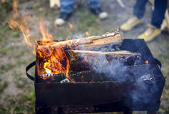 Firewood in the brazier Royalty Free Stock Photography