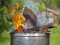 Firewood in the brazier Stock Photography