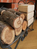 Firewood and briquettes for heating Royalty Free Stock Photography