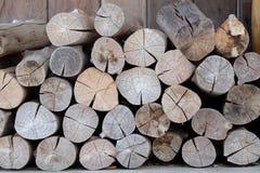 Firewood Bundle. log pile Stock Photo