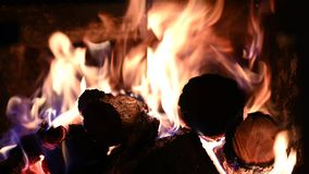 Firewood burn in fire place . Firewood burn in fire place stock footage