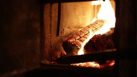 Firewood burn in the furnace stock video footage