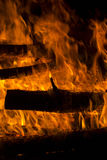 Firewood burned in a bonfire closeup Royalty Free Stock Photography